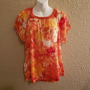 Rebecca Malone Orange & Yellow Blouse